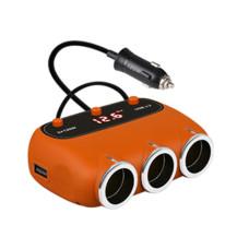 Автомобільний розгалужувач прикурювача з LED дисплеєм, вольтметром, USB виходами, 12-24В