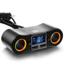 Автомобільний розгалужувач прикурювача з LCD дисплеєм, вольтметром, USB виходами, 12-24В