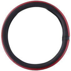 Чохол на кермо вантажного автомобіля чорного кольору з вставками червоного кольору, 44-46 см, артикул: 8711252225234
